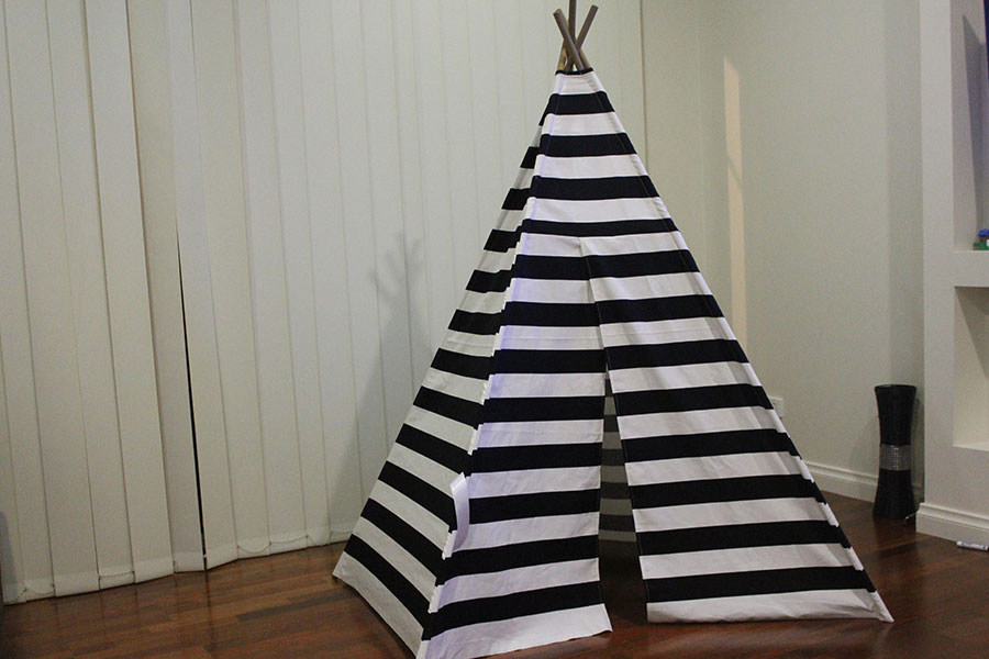 new concept 145ab a46c1 Black Stripes Kids Teepee Play Tent Design